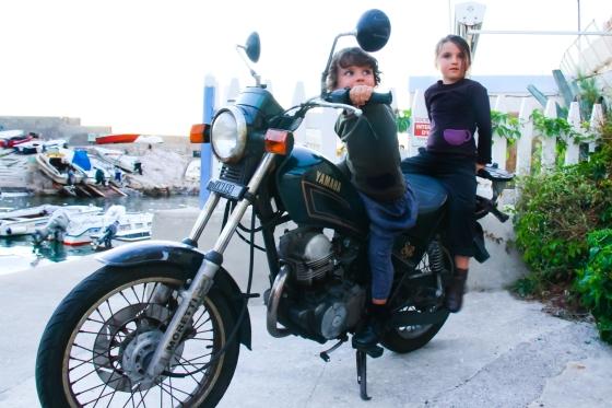 On Seb's motorbike