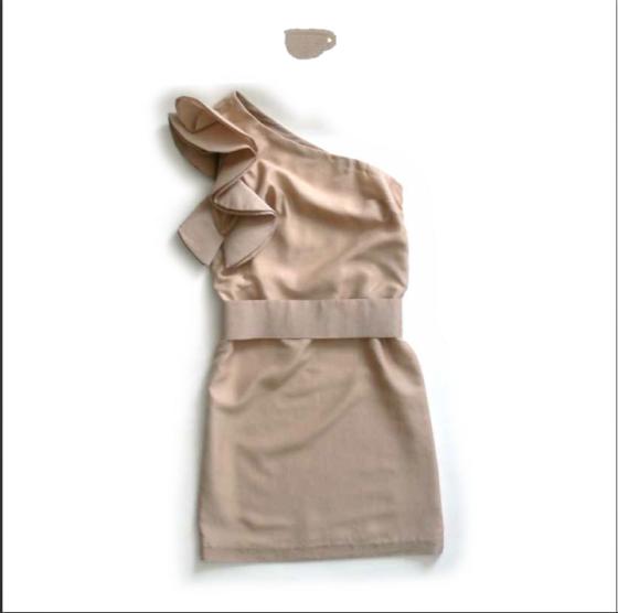 Oneshoulder pinkPalesilk-cotton dress